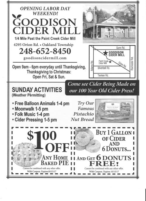 Goodison Cider Mill Ad Good Any Day of the 2017 Season